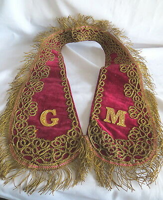 Vintage Oddfellows Red Grand Masters Embroidered Collar (36)