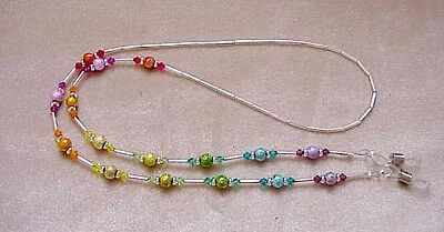 RAINBOW CRYSTAL handmade with  Swarovski Crystals  Eyeglass Chain Holder SILVER