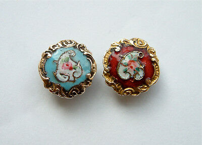 2 Antique Small (12mm) French Enamel Buttons, Red & Turquoise