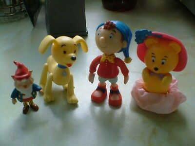 FOUR SMALL VINYL FIGURES OF NODDY AND FRIENDS  NODDY IS TALLEST AT 3ins.