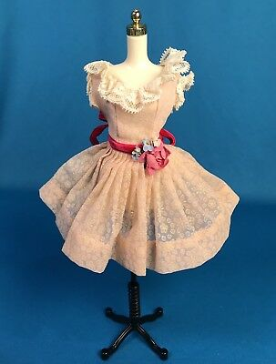 Vintage Madame Alexander Cissette Pink Cotton Sun Dress W Rose Velvet Sash