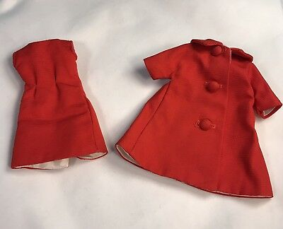 Vintage Madame Alexander Cissette Margot Red Satin Shift Dress & Coat