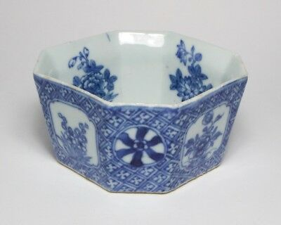 Antique Chinese blue and white porcelain octagonal bowl