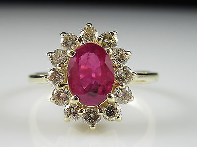 Ruby Diamond Ring Princess Diana Style 14K 1.81cttw Cluster Halo Fine $3995