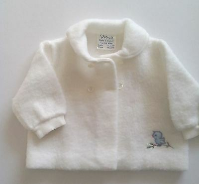 Babies White Jacket  Coat with blue bird motif  age 3 - 9months  1960s Vintage