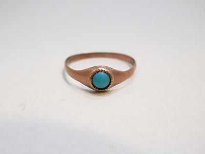 Vintage 10 Kt Yellow Gold Turquoise Child's Ring Size 2.25