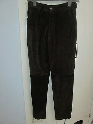 Sardar - vintage brown real suede tapered trousers - size 14