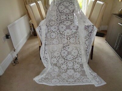 Vintage Large Cream Poly/Lace Tablecloth/Scalloped Edge 78 x 50 inches VGC