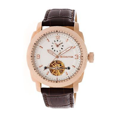 Heritor Helmsley Semi-Skeleton Dial Leather-Band Watch, Rose Gold/: HERHR5008