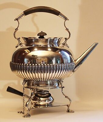 "1892 English Sterling Silver Tea Pot Kettle / Burner/ Stand signed ""AS"" 75ounces"