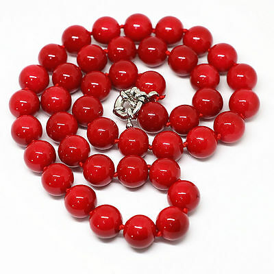 "New fashion red coral 8mm round beads Gemstone  necklace 18"" jewelry AAA"