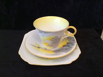 Lovely Shelley Art Deco Trio Lakeland Yellow,