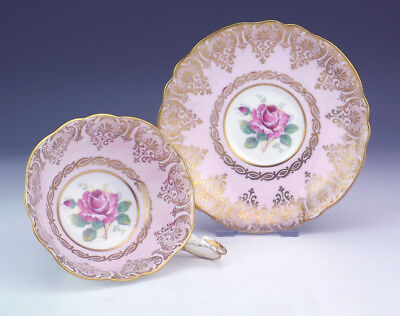Vintage Paragon China Rose & Gilt Decorated Pink Cabinet Cup & Saucer - Lovely!