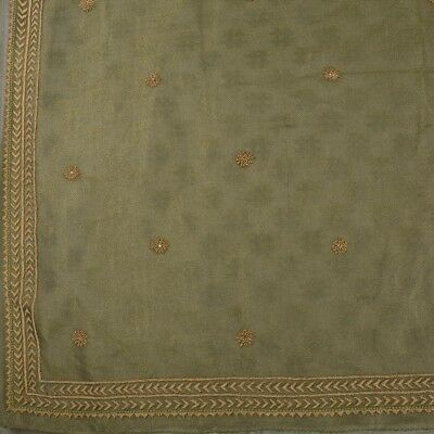 Vintage Indian Saree Tissue Hand Beaded Green Pre Stitched Lehenga Ethnic Sari