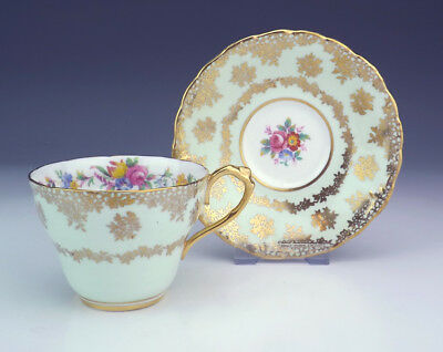 Vintage Paragon China - Flower & Gilt Decorated Mint Green Cabinet Cup & Saucer
