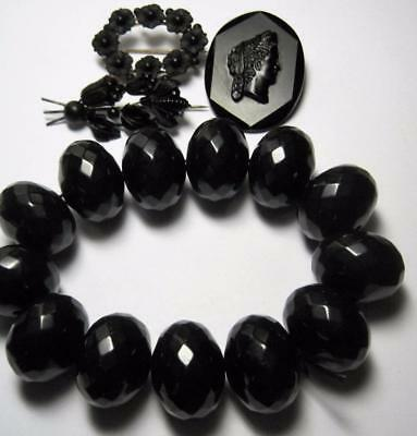 5 piece antique Victorian Jet Glass Mourning Jewelry Lot