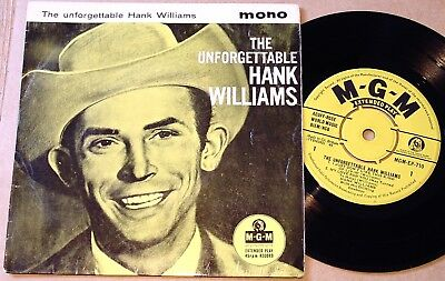 """Hank Williams : The Unforgettable Hank Williams UK MGM 4 Track 7"""" 45 EP 1960"""