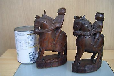 a pair of asian/oriental carved wood figures on horsback