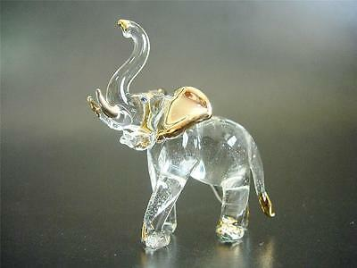 Curio Glass ELEPHANT Walking Raised Trunk African Indian Golden Birthday Gift