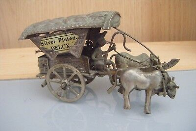 antique asian ox and cart silver plate