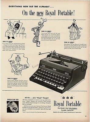 1948 ROYAL Portable Typewriter Quiet De Luxe w/ Finger Form Keys Vtg Print Ad