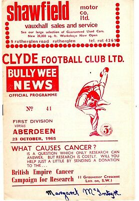 Clyde v Aberdeen Scottish League 1st division 23rd October 1965