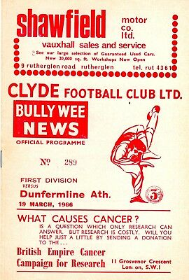 Clyde v Dunfermline Ath Scottish League 1st Division 19th March 1966