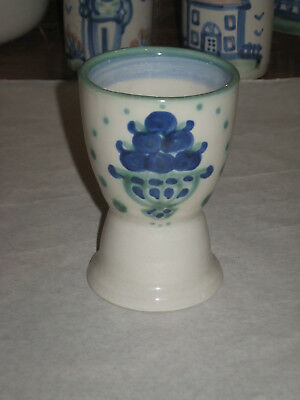 M A Hadley Stoneware Bouquet/Blueberry Egg Cup Hand Painted