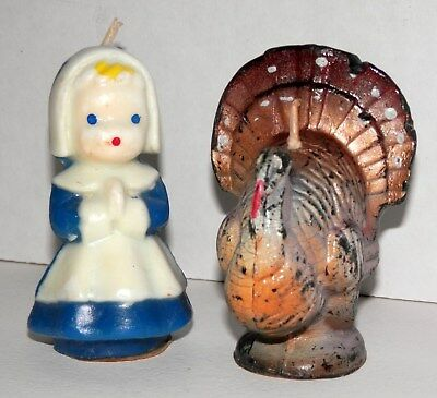 "Vintage Unused Gurley 3"" Pilgrim Girl and Turkey Thanksgiving Candle Pair"