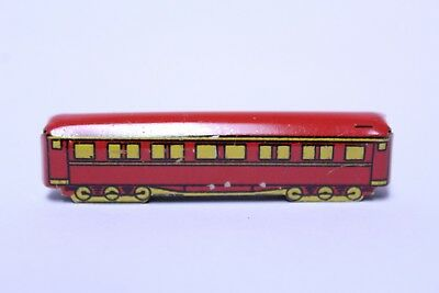 Nice Early Cracker Jack Tin Train Passenger Car Red & Yellow Prize