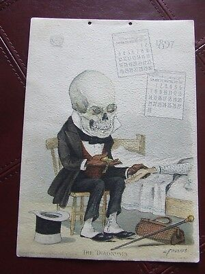 "Antikamnia 1897 Calender (Jan, February) Skele Doctor w/sick man ""The Diagnosis"""