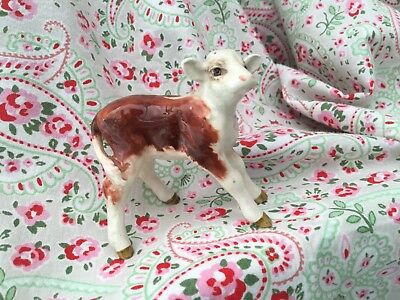 Old Early Vintage BESWICK Brown & White Calf - Hereford Calf?