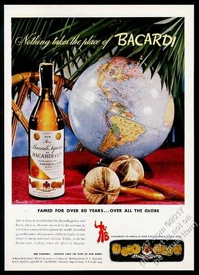 1942 Bacardi Cuban Rum bottle and globe photo vintage print ad