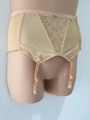 Vintage 70's Pin Up Nude Beige Lace Panel Hook & Eye Suspender Belt Approx 16-18