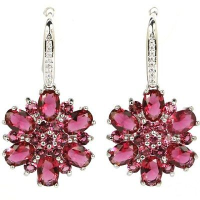 Pink Raspberry Rhodolite Garnet, CZ Wedding Silver Earrings