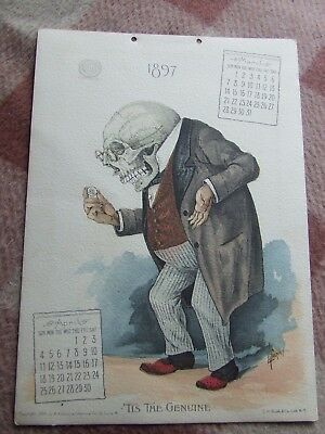 Antikamnia 1897 Calender (March, April) Skele Doctor holding Codeine Tab tin !