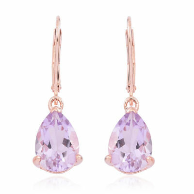 Rose De France Amethyst Lever Back Earrings in Rose Gold Over Silver 5.250 Ct.