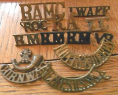 11 x Assorted Shoulder Titles, IWAFF, Notts & Derby, 7C, RM, DCLI, ROC, RA, RAMC