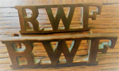 Pair of Brass Royal Welch Fusiliers (RWF) Brass Shoulder Titles