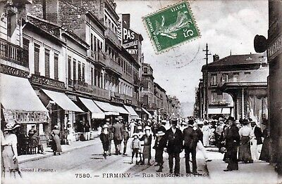 42 - Firminy  -- Rue Nationale Et Place   Tres Animee  1912