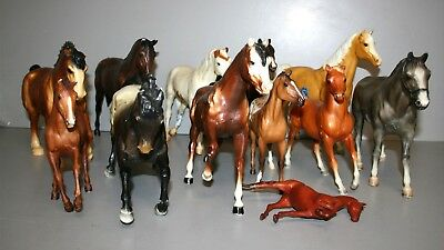 a) Lot of (12) Breyer Traditional Horses for Restoration