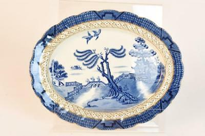 """Vintage Booths """"real Old Willow"""" Blue Platter 12"""" X 9 1/2"""" Gilded Gold"""