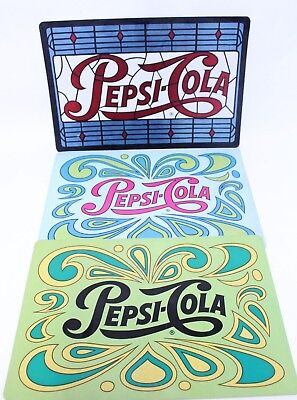Vintage Retro Set Of 3 Pepsi Cola Psychedelic Restaurant Place Mats