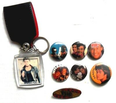 WHAM GEORGE MICHAEL  x 7 badges + PLASTIC KEYRING   ORIGINAL '80's