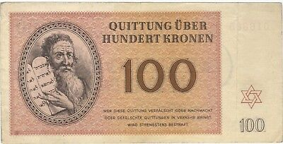 1943 100 Kronen Theresienstadt Concentration Camp Banknote Bill Note Money Wwii
