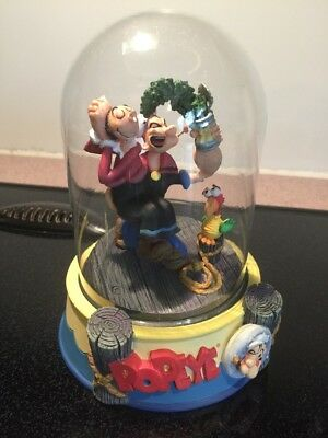 HTF Popeye And Olive Oyl Figurine Glass Dome The Sailor Man Limited edition 1996