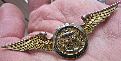 """WWII navy WINGS usn NAVAL OBSERVER pin 2 13/16"""" gold gilt finish MILITARY anchor"""
