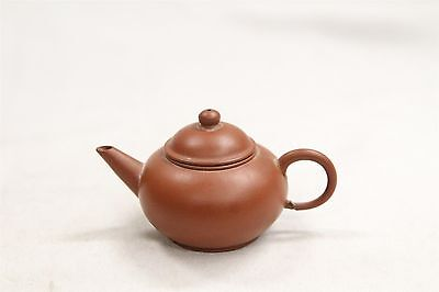 Old Chinese YIxing Dark Clay Miniature Round Pottery Teapot Signed Characters