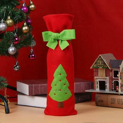 #C Christmas Red Wine Bottle Cover Bags with Green Bow Embroidery Pattern WT7n