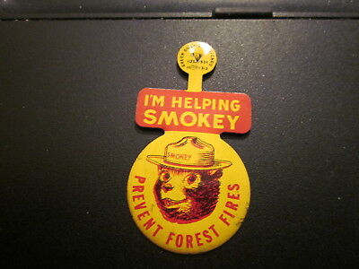 I'm Helping Smokey the Bear Pin Prevent Forest Fores Green Duck Co Chicago
